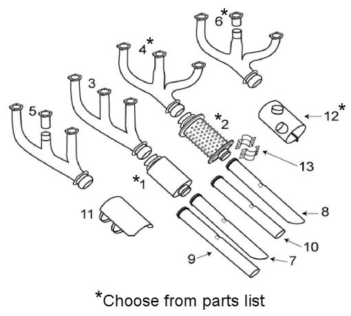 Beechcraft V35 A36 F33 Exhaust System Itemized Parts List