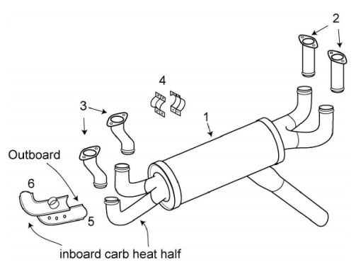 Grumman AA-5 Traveler Exhaust System Itemized Parts List