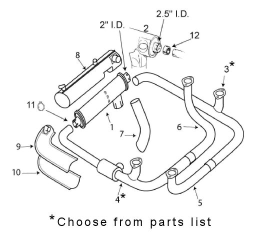 Piper 24 180 Comanche Exhaust System Itemized Parts List